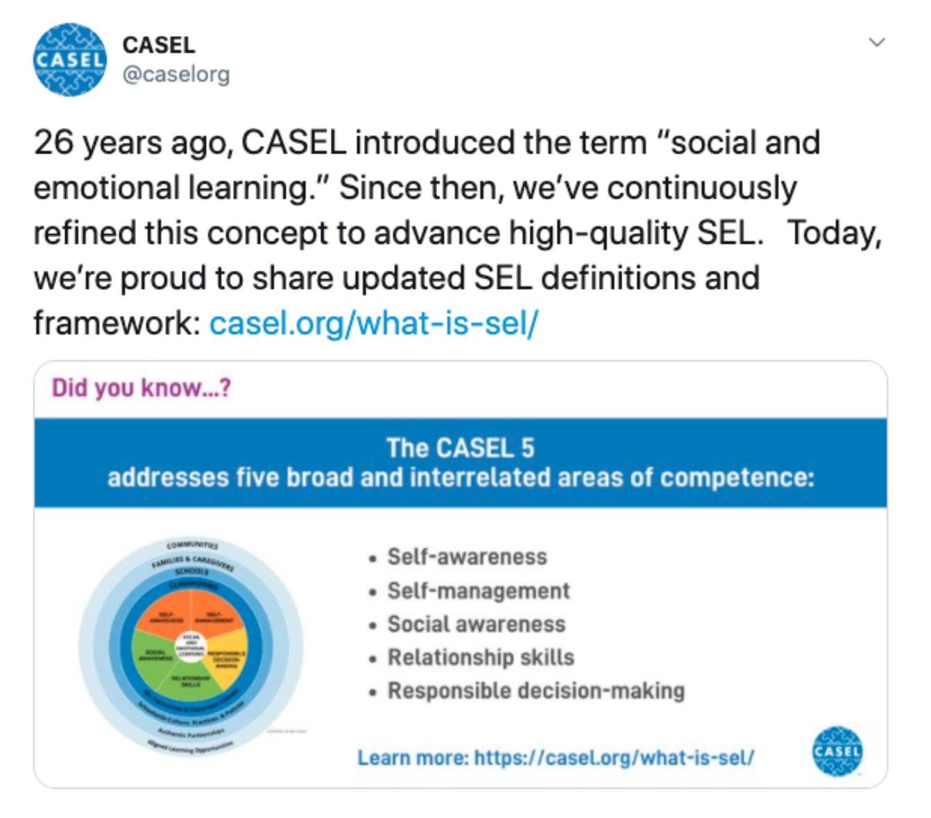 CASEL's SEL definition update